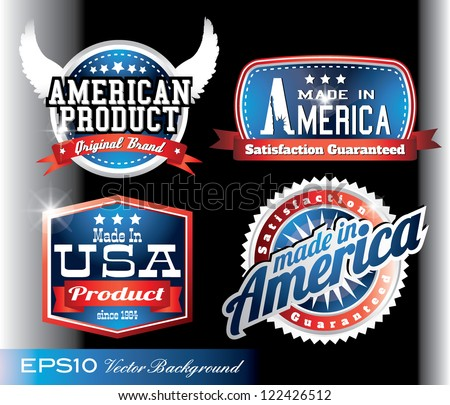 american made in usa retro vintage old school labels - stock vector