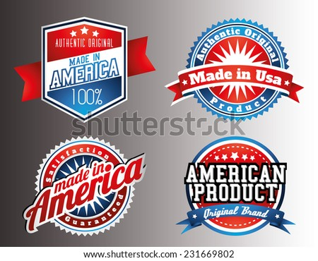 American made in USA retro vintage patriotic labels - stock vector