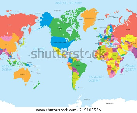 American map world - stock vector