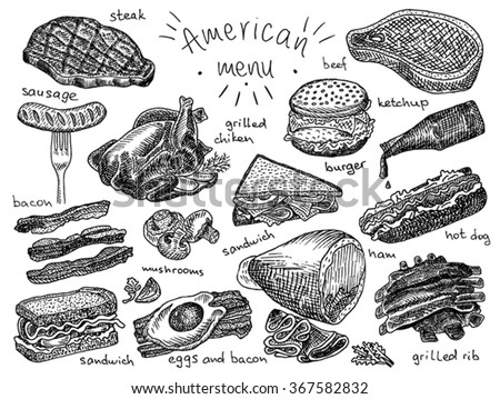 American menu, steak, sausage, bacon, sandwich, mushroom, grilled chicken, eggs, eggs and bacon, grill, grilled ribs, ribs, ham, hot dog, burger, ketchup - stock vector