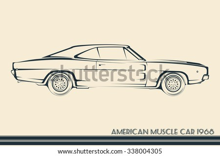 American Muscle Car Silhouette Vintage Stock Vector