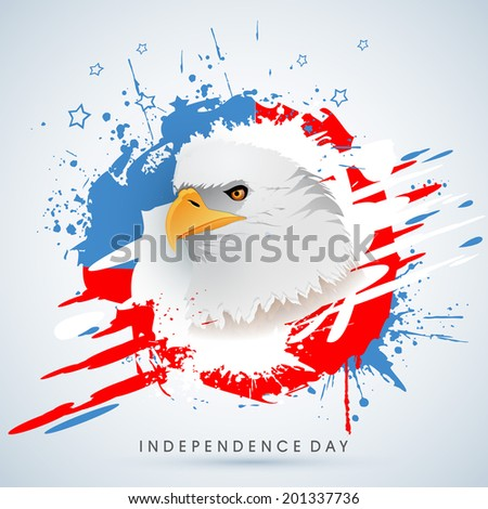 American national bird bald eagle on grungy blue background for 4th of July, American Independence Day celebrations.  - stock vector