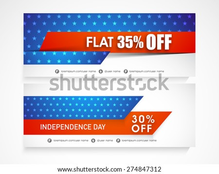 American national flag colors website header or banner set for 4th of July, Independence Day celebration. - stock vector