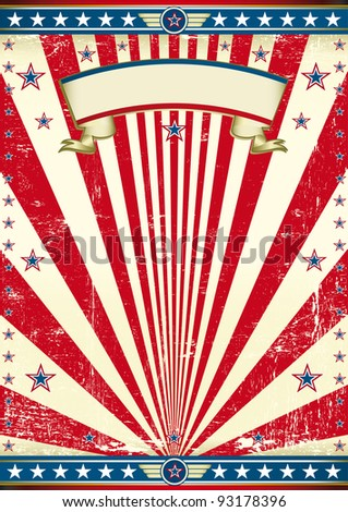 American old flag background. An american vintage poster for your message. Enjoy !