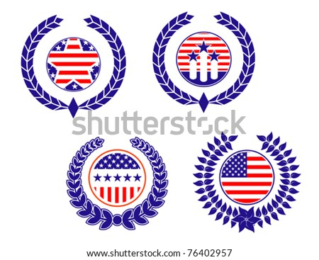 American patriotic symbols set for design and decorate, such a logo. Jpeg version also available in gallery - stock vector