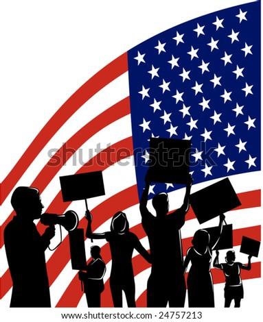 American People protesting development - stock vector