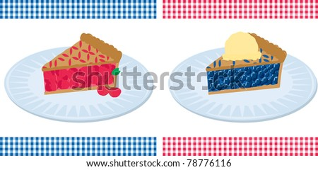 American Pie. Vector illustration of all-American cherry and blueberry pie with a gingham border.