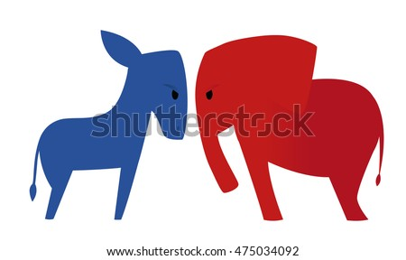 american politics democratic donkey versus republican stock vector