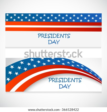 American Presidents Day celebration website header or banner set.
