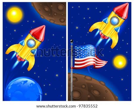 American retro rocket ship space vehicle blasting off into sky, vector illustration. - stock vector