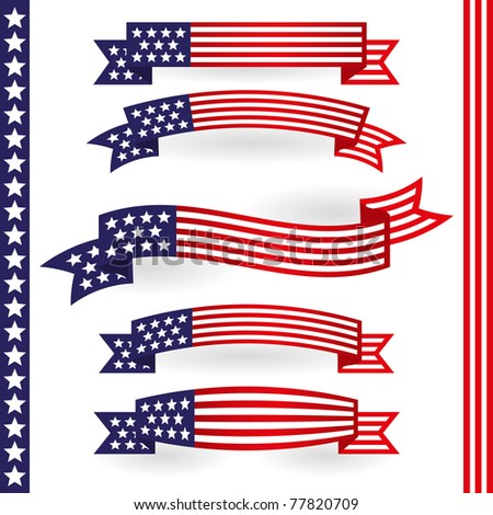 American ribbon - stock vector