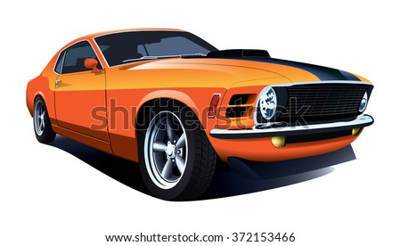 American 70s customized muscle car. Vector EPS10 isolated, separated layers, quick repaint - stock vector