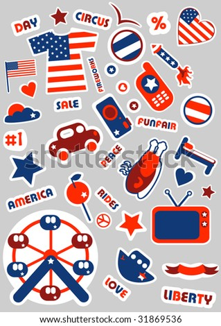 american set.Stickers for you - stock vector
