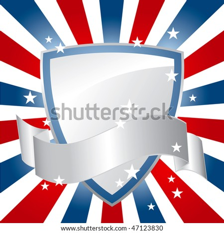 American Silver Shield Background - stock vector