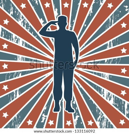 american soldier over american background. vector illustration - stock vector