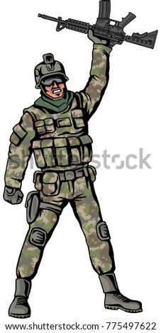American soldier with a gun and woodland digital  camouflage