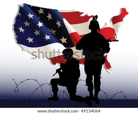 American soldiers. All elements and textures are individual objects. Vector illustration scale to any size. - stock vector