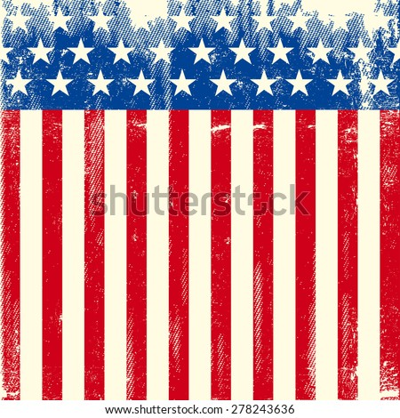 American square dirty flag. A square American background for a leaflet or a greeting card - stock vector