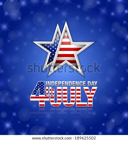 American star with 4th july Independence day title placed on blue background - stock vector