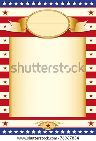 American stars poster Poster with US Flag and a large beige colored frame - stock vector
