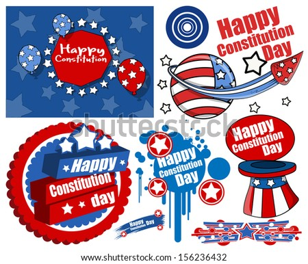 American Style Constitution Day Design Vectors