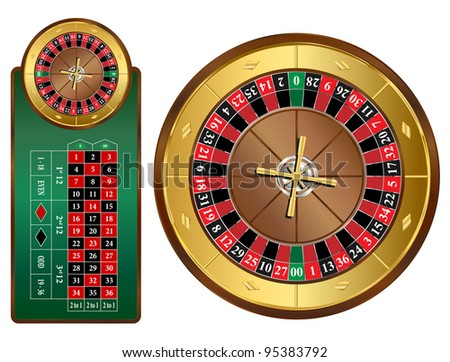 American style roulette wheel and table vector illustration - stock vector