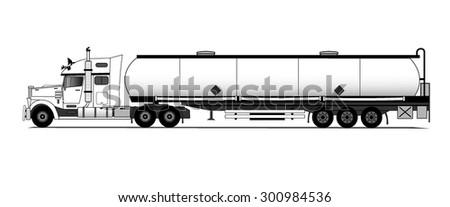 American style tank truck - stock vector