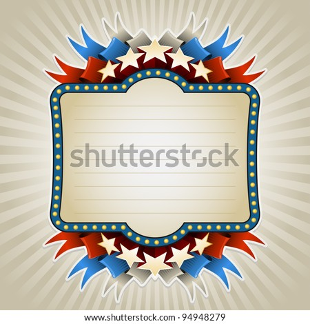 American style vintage banner. All elements are layered separately in vector file. Easy editable. - stock vector