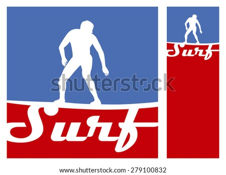 american surf frames with rider and copy space - stock vector