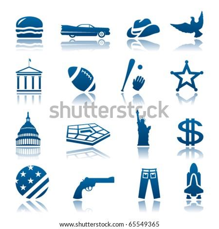 American symbols icon set - stock vector