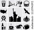 American Symbols Icons - stock vector