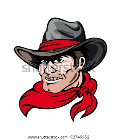 American Texas cowboy logo in heat isolated on white background. Vector illustration - stock vector