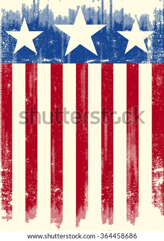American theme grunge flag. A american grunge background - stock vector