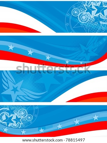 American theme horizontal banners set - stock vector