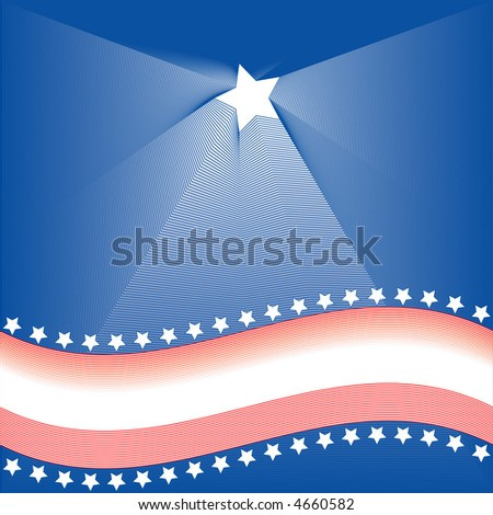 American themed background of red white and blue stars and stripes with copy space. - stock vector