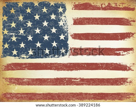 American Themed Flag Background. Grunge Aged Vector Template. Horizontal orientation. - stock vector