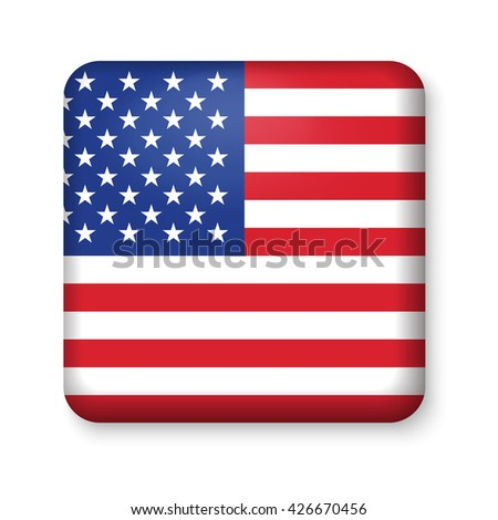 American United States Flag in glossy square button of icon. USA emblem isolated on white background. National concept sign. Independence Day Symbol. 4 July freedom patriotic banner with pride color - stock vector