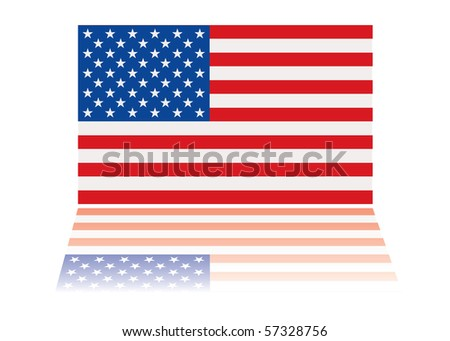 american us flag with red white and blue stars and stripes - stock vector