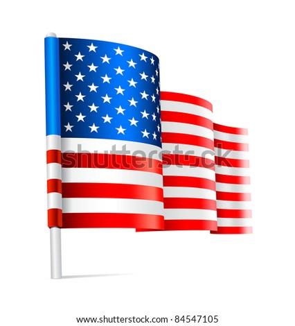 American USA flag waving - stock vector