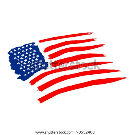 american vector flag independence day drawing watercolor - stock vector