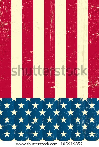 American vintage flag. An american grunge flag for a background of a poster. - stock vector