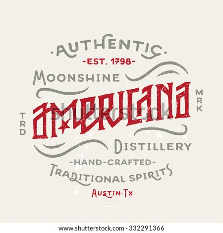 Americana Moonshine Distillery retro hand lettered design. Vintage Americana Style. Hand Drawn Custom Type. Old School Flavor. Great as logo, for t shirt fashion prints tee graphics wall art decor etc - stock vector