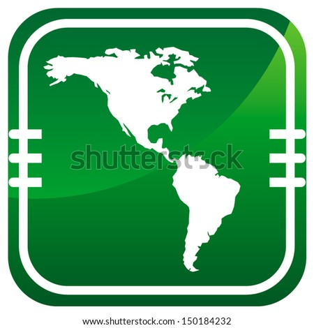 Americas map vector green icon - stock vector