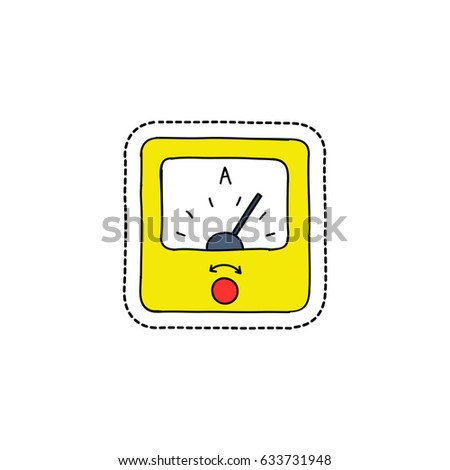 Ammeter Doodle Icon Sticker Stock Vector (Royalty Free) 633731948 ...