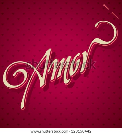 AMOR hand lettering - handmade calligraphy, vector (eps8) - stock vector