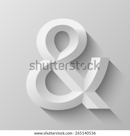 Ampersand with bevel - stock vector