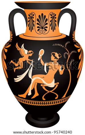 Amphora Redfigure Vase Painting Vector Images Stock Vector Royalty