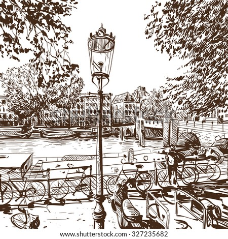 Amsterdam hand drawn, vector illustration - stock vector
