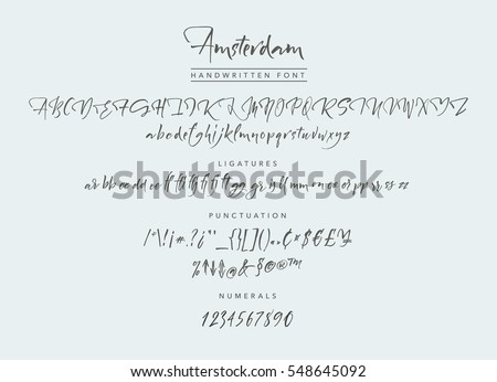 Amsterdam Handwritten Script Font Brush Uppercase Lowercase Numbers Punctuation And