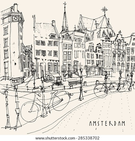 Amsterdam, Holland, Netherlands. View of old center with bicycles. Dutch traditional historical buildings. Monochrome freehand drawing isolated vector. Postcard template with Amsterdam hand lettering - stock vector